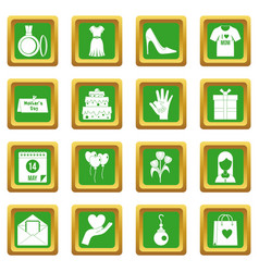Mothers day icons set green vector