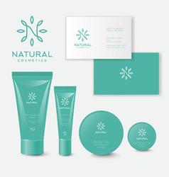 Natural cosmetics logo pack n monogram leaves vector