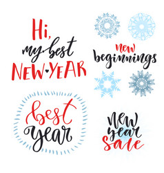 new year calligraphic lettering set design for vector image