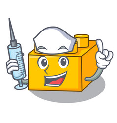 Nurse plastic shaped toy on constructi character vector