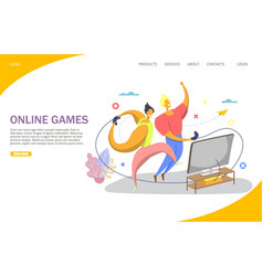 online games website landing page design vector image