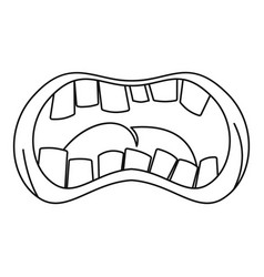 open mouth with crooked teeth icon outline style vector image