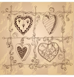 Original drawing doodle hearts vector image