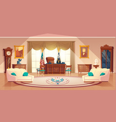 Oval cabinet in white house vector