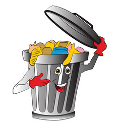 Overloaded dustbin holding lid vector