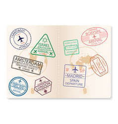 Passport with visa stamps vector