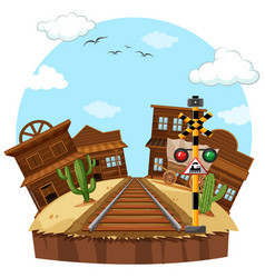 Railway track in the cowboy town vector