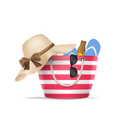 realistic 3d detailed striped beach bag vector image