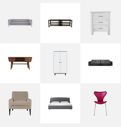 realistic stool couch wardrobe and other vector image