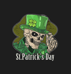 Saint patricks day skeleton green hat with clover vector