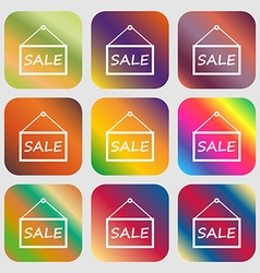 SALE tag icon sign Nine buttons with bright vector