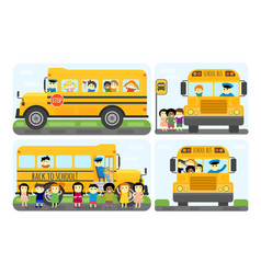 school bus kids transport vector image