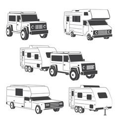 set isometric traveler truck camper thin line vector image