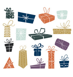set multi-colored christmas gifts vector image