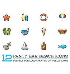 Set of Beach Sea Bar Flat Icons Elements and vector image