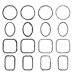 set of black painted frames of circles ovals vector image