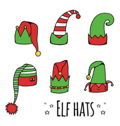 set of cartoon elf hats vector image