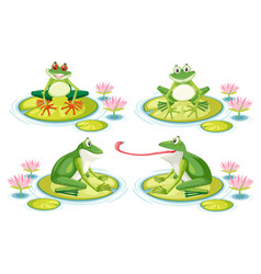 Set of frog on lotus pad vector
