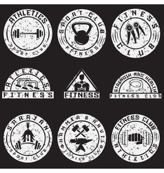 Set of various fitness grunge labels and design vector