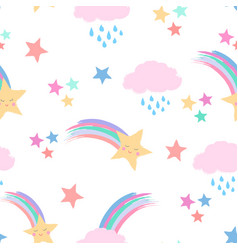 shooting stars and fluffy clouds with faces vector image