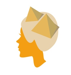 Silhouette of female head with piramids vector