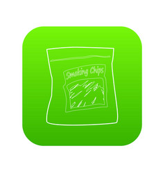 Smoking chips icon green vector