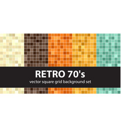 Square pattern set retro 70s seamless tile vector