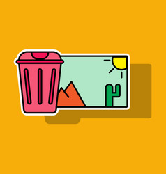 Sticker delete image flat icon on color background vector