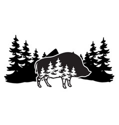 stylized monochrome with boar and vector image