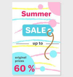 summer sale poster with 60 discount off vector image vector image
