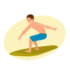 Surfer with surfboard standing riding on ocean vector