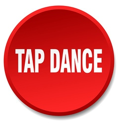 Tap dance red round flat isolated push button vector