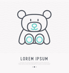 teddy bear thin line icon vector image