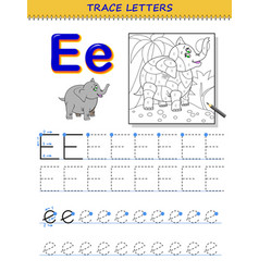 Tracing letter e for study alphabet printable vector