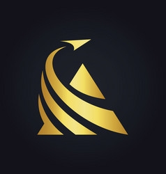 triangle business finance arrow gold logo vector image