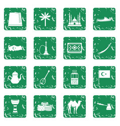 turkey travel icons set grunge vector image