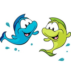 Two funny fish isolated on white background vector