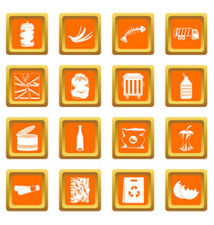 waste and garbage icons set orange vector image