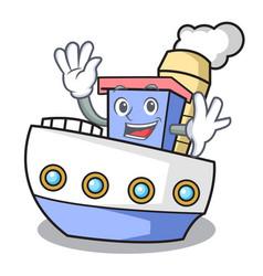 Waving ship character cartoon style vector