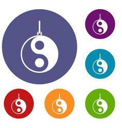Yin yang symbol icons set vector