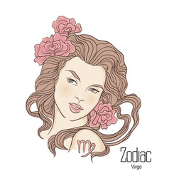 Zodiac of virgo as girl with vector