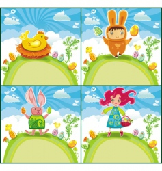 Easter greeting cards vector image vector image