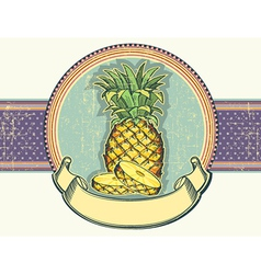 Pineapple vintage label on old paper backgro vector image vector image