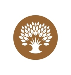 Stylized tree logo with rich crown of leaves vector image vector image