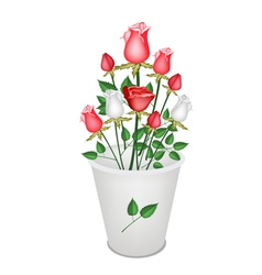 A Lovely Roses Bouquet in White Bucket vector image vector image