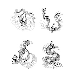 Musical compositions with music waves vector image