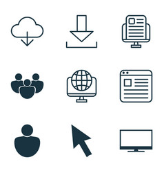set of 9 world wide web icons includes computer vector image vector image