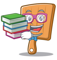 student with book kitchen board character cartoon vector image vector image