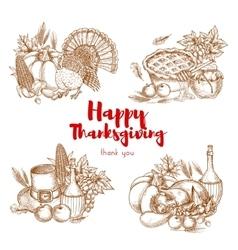 Thanksgiving holiday sketch symbols set vector image