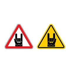 Warning sign of attention rock music Rock hand vector image